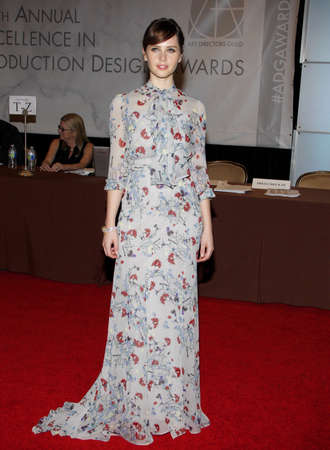 Felicity Jones at the 19th Annual Art Directors Guild Excellence In Production Design Awards held at the Beverly Hilton Hotel in Beverly Hills on January 31, 2015.
