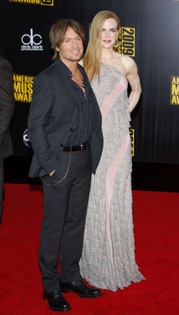 Keith Urban and Nicole Kidman at the 2009 American Music Awards held at the Nokia Theater in Los Angeles on November 22, 2009.