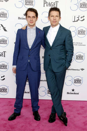 ethan: Ellar Coltrane and Ethan Hawke at the 2015 Film Independent Spirit Awards held at the Santa Monica Beach in Santa Monica on February 21, 2015.