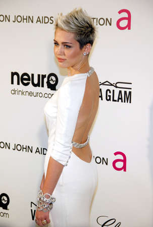 cyrus: Miley Cyrus at the 21st Annual Elton John AIDS Foundation Academy Awards Viewing Party held at the Pacific Design Center in West Hollywood on February 24, 2013 in Los Angeles, California. Credit: Lumeimages.com