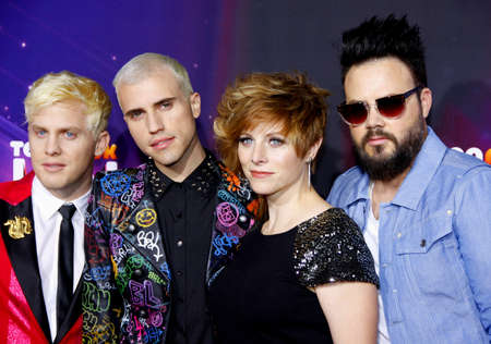 glenn: Chris Allen, Tyler Glenn, Elaine Bradley and Branden Campbell of Neon Trees at the  2012 Halo Awards held at the Hollywood Palladium in Hollywood on November 17, 2012. Credit: Lumeimages.com
