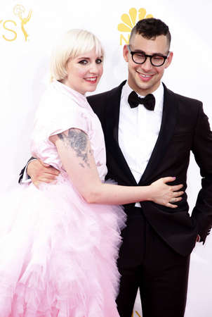 LOS ANGELES, CA - AUGUST 25, 2014: Lena Dunham and Jack Antonoff at the 66th Annual Primetime Emmy Awards held at the Nokia Theatre L.A. Live in Los Angeles, USA on August 25, 2014.