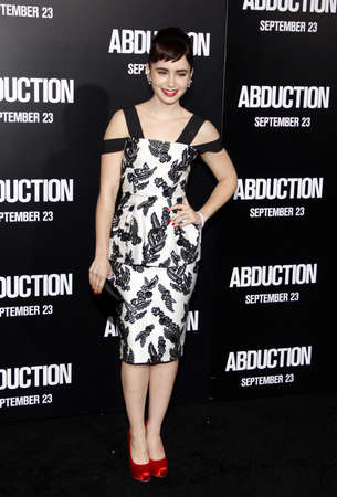 abduction: Lily Collins at the Los Angeles premiere of Abduction held at the Graumans Chinese Theater in Los Angeles on September 15, 2011. Editorial