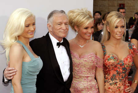 Holly Madison, Hugh Hefner, Bridget Marquardt and Kendra Wilkinson attend the 35th Annual AFI Life Achievement Award held at the Kodak Theatre in Hollywood, California on June 7, 2007. Editorial