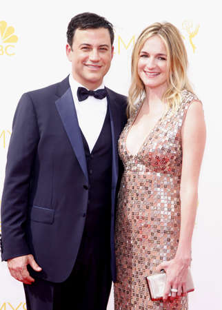 molly: LOS ANGELES, CA - AUGUST 25, 2014: Jimmy Kimmel and Molly McNearney at the 66th Annual Primetime Emmy Awards held at the Nokia Theatre L.A. Live in Los Angeles, USA on August 25, 2014.