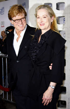 Robert Redford and Meryl Streep at the AFI Fest Opening Night Gala Premiere of Lions for Lambs held at the ArcLight Theater in Hollywood, California, United States on November 1, 2007. Editorial