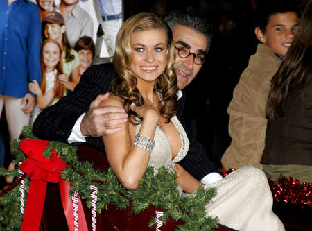 levy: Carmen Electra and Eugene Levy at the World Premiere of Cheaper By The Dozen 2 held at the Mann Village Theatres in Westwood, USA on December 13, 2005.