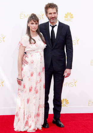 amanda: LOS ANGELES, CA - AUGUST 25, 2014: David Benioff and Amanda Peet at the 66th Annual Primetime Emmy Awards held at the Nokia Theatre L.A. Live in Los Angeles, USA on August 25, 2014.
