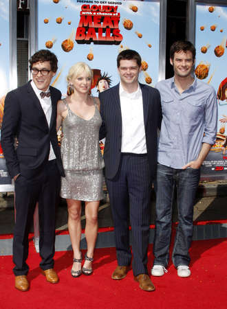 Phil Lord, Anna Faris, Chris Miller and Bill Hader at the Los Angeles premiere of Cloudy With A Chance Of Meatballs held at the Mann Village Theater jn Westwood, USA on September 12, 2009. Editorial
