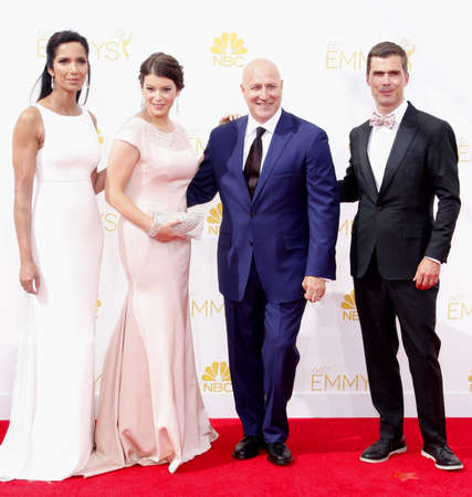 padma: LOS ANGELES, CA - AUGUST 25, 2014: Tom Colicchio, Gail Simmons and Padma Lakshmi at the 66th Annual Primetime Emmy Awards held at the Nokia Theatre L.A. Live in Los Angeles, USA on August 25, 2014.
