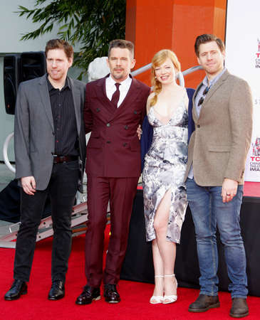 ethan: Ethan Hawke, Sarah Snook, Michael Spierig and Peter Spierig at the Ethan Hawke Hand And Footprint Ceremony held at the TCL Chinese Theatre in Hollywood, USA on January 8, 2015.