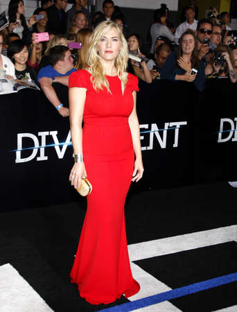 divergent: Kate Winslet at the Los Angeles premiere of Divergent held at the Regency Bruin Theatre in Westwood, USA on March 18, 2014. Editorial