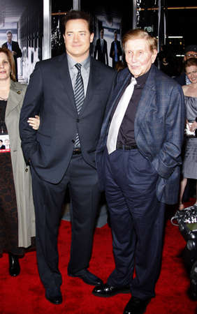 redstone: Brendan Fraser and Sumner Redstone at the Los Angeles premiere of Extraordinary Measures held at the Graumans Chinese Theater in Hollywood, USA on January 19, 2010.