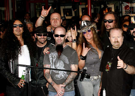 abbott: Scott Ian, Mike Inez, Rita haney and Ace Frehley at the Posthumoustly Induction of legenadary metal guitarist Dimebag Darrell Abbott into Hollywoods RockWalk held at the Guitar Center in Hollywood, USA on May 17, 2007. Editorial