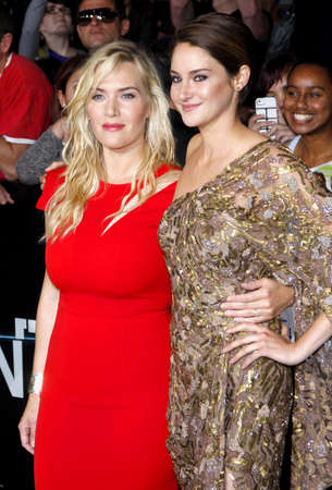 Shailene Woodley and Kate Winslet at the Los Angeles premiere of Divergent held at the Regency Bruin Theatre in Westwood, USA on March 18, 2014.