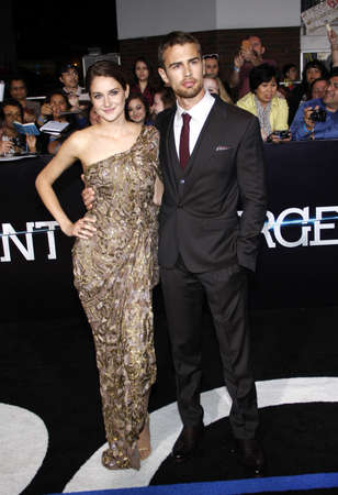 divergent: Shailene Woodley and Theo James at the Los Angeles premiere of Divergent held at the Regency Bruin Theatre in Westwood, USA on March 18, 2014.