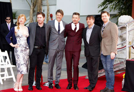 ethan: Ethan Hawke, Sarah Snook, Richard Linklater, Michael Spierig and Peter Spierig at the Ethan Hawke Hand And Footprint Ceremony held at the TCL Chinese Theatre in Hollywood, USA on January 8, 2015. Editorial