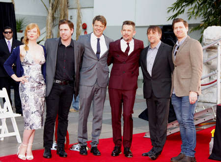ethan: Ethan Hawke, Sarah Snook, Richard Linklater, Michael Spierig and Peter Spierig at the Ethan Hawke Hand And Footprint Ceremony held at the TCL Chinese Theatre in Hollywood on January 8, 2015.
