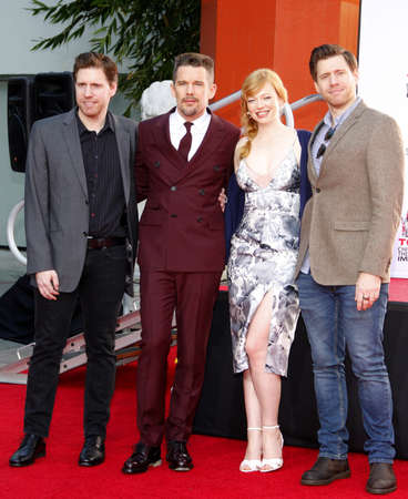ethan: Ethan Hawke, Sarah Snook, Michael Spierig and Peter Spierig at the Ethan Hawke Hand And Footprint Ceremony held at the TCL Chinese Theatre in Hollywood on January 8, 2015.