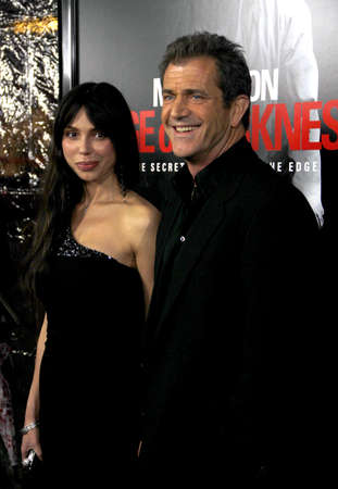 Mel Gibson and Oksana Grigorieva at the Los Angeles premiere of Edge Of Darkness held at the Graumans Chinese Theatre in Hollywood on January 26, 2010.