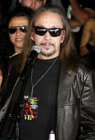 abbott: Ace Frehley of Kiss attends the Posthumoustly Induction of legenadary metal guitarist Dimebag Darrell Abbott into Hollywoods RockWalk held at the Guitar Center in Hollywood, California on May 17, 2007.