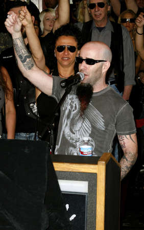 abbott: Scott Ian of Anthrax attends the Posthumoustly Induction of legenadary metal guitarist Dimebag Darrell Abbott into Hollywoods RockWalk held at the Guitar Center in Hollywood, California on May 17, 2007.