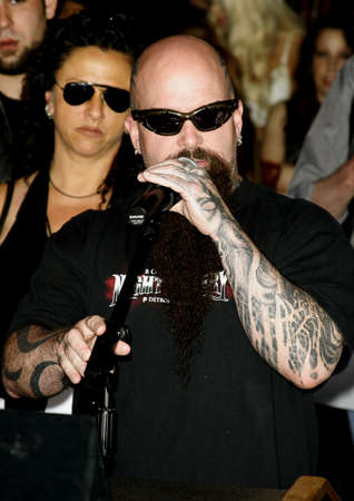 abbott: Kerry King of Slayer attends the Posthumoustly Induction of legenadary metal guitarist Dimebag Darrell Abbott into Hollywoods RockWalk held at the Guitar Center in Hollywood, California on May 17, 2007.