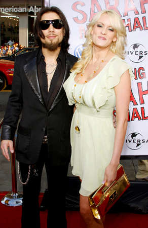 hollywood   california: Dave Navarro and Stormy Daniels attend the World Premiere of Forgetting Sarah Marshall held at the Graumans Chinese Theater in Hollywood, California, United States on April 10, 2008.