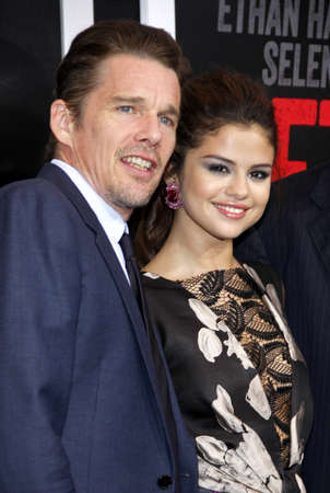 ethan: Ethan Hawke and Selena Gomez at the Los Angeles premiere of Getaway held at the Regency Village Theatre in Westwood, USA on August 26, 2013.