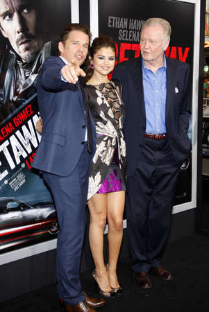ethan: Jon Voight, Ethan Hawke and Selena Gomez at the Los Angeles premiere of Getaway held at the Regency Village Theatre in Westwood, USA on August 26, 2013.