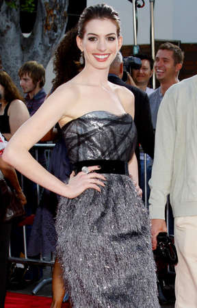 hathaway: Anne Hathaway at the Los Angeles premiere of Get Smart held at the Mann Village Theater in Westwood on June 16, 2008.