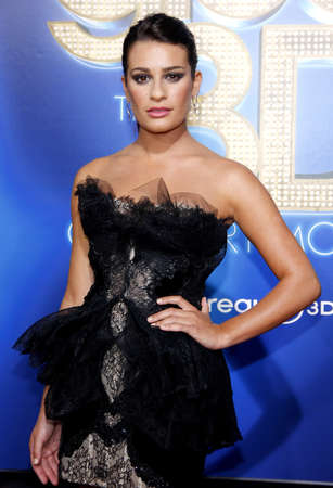 glee: Lea Michele at the Los Angeles premiere of Glee: The 3D Concert Movie held at the Regency Village Theater in Westwood on August 6, 2011.