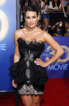 glee: Lea Michele at the Los Angeles premiere of Glee: The 3D Concert Movie held at the Regency Village Theatre in Westwood on August 6, 2011. Credit: Lumeimages.com Editorial