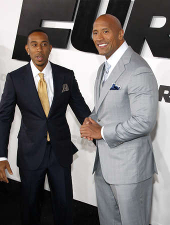 Dwayne The Rock Johnson and Chris Ludacris Bridges at the Los Angeles premiere of Furious 7 held at the TCL Chinese Theater IMAX in Hollywood, USA on April 1, 2015. Editorial