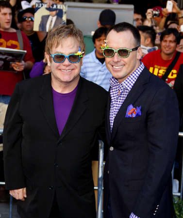 furnish: Elton John and David Furnish at the Los Angeles premiere of Gnomeo And Juliet held at the El Capitan Theater in Hollywood on January 23, 2011.