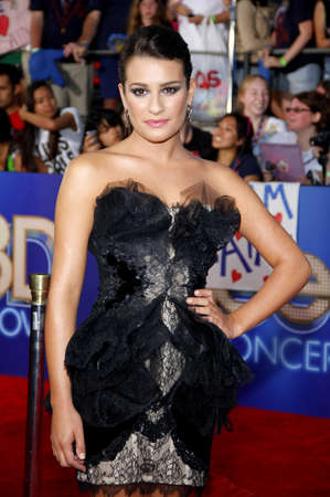 glee: Lea Michele at the Los Angeles premiere of Glee: The 3D Concert Movie held at the Regency Village Theatre in Westwood, USA on August 6, 2011. Editorial
