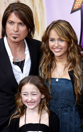 cyrus: Miley Cyrus and Billy Ray Cyrus at the Los Angeles premiere of Hannah Montana The Movie held at the El Capitan Theater in Hollywood, USA on April 4, 2009.