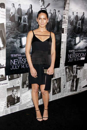 newsroom: Olivia Munn at the HBOs Season 2 Premiere of The Newsroom held at the Paramount Studios in Hollywood, USA on July 10, 2013. Editorial