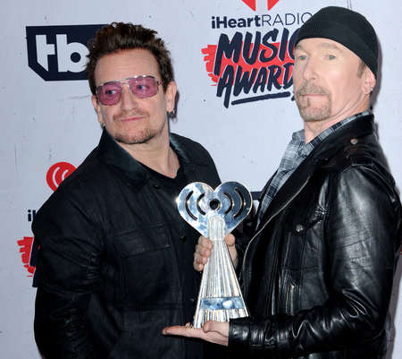Bono and The Edge of U2 at the 2016 iHeartRadio Music Awards held at the Forum in Inglewood, USA on April 3, 2016.