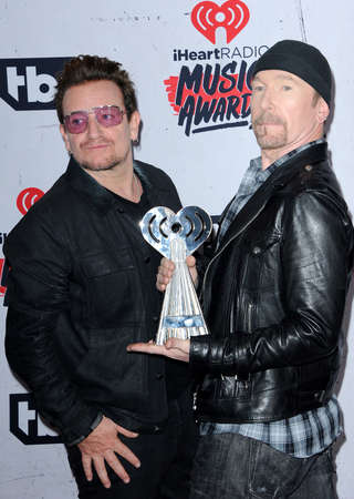 bono: Bono and The Edge of U2 at the 2016 iHeartRadio Music Awards held at the Forum in Inglewood, USA on April 3, 2016.