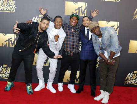 O'Shea Jackson Jr., Corey Hawkins, Neil Brown Jr., and Aldis Hodge at the 2016 MTV Movie Awards held at the Warner Bros. Studios in Burbank, USA on April 9, 2016. Фото со стока - 54917820
