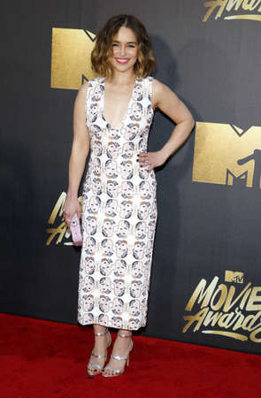 warner: Emilia Clarke at the 2016 MTV Movie Awards held at the Warner Bros. Studios in Burbank, USA on April 9, 2016.