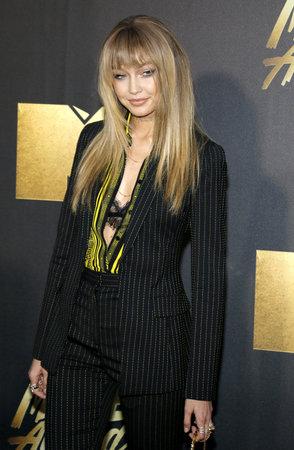 warner: Gigi Hadid at the 2016 MTV Movie Awards held at the Warner Bros. Studios in Burbank, USA on April 9, 2016. Editorial