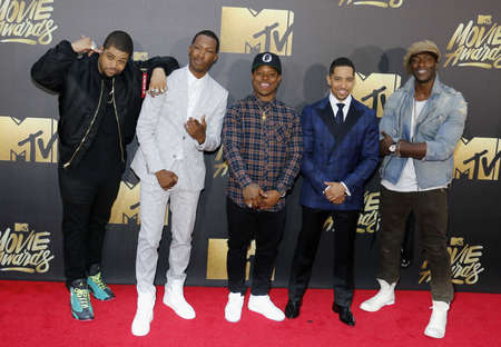 OShea Jackson Jr., Corey Hawkins, Neil Brown Jr., and Aldis Hodge at the 2016 MTV Movie Awards held at the Warner Bros. Studios in Burbank, USA on April 9, 2016.