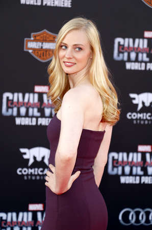 woll: Deborah Ann Woll at the World premiere of 'Captain America: Civil War' held at the Dolby Theatre in Hollywood, USA on April 12, 2016.