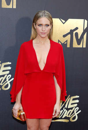 burbank: Brittany Snow at the 2016 MTV Movie Awards held at the Warner Bros. Studios in Burbank, USA on April 9, 2016.