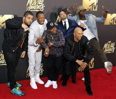 Common, OShea Jackson Jr., Corey Hawkins, Jason Mitchell, Neil Brown Jr. and Aldis Hodge at the 2016 MTV Movie Awards held at the Warner Bros. Studios in Burbank, USA on April 9, 2016.
