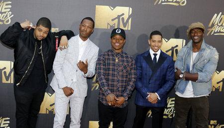OShea Jackson Jr., Corey Hawkins, Jason Mitchell, Neil Brown Jr. and Aldis Hodge at the 2016 MTV Movie Awards held at the Warner Bros. Studios in Burbank, USA on April 9, 2016.