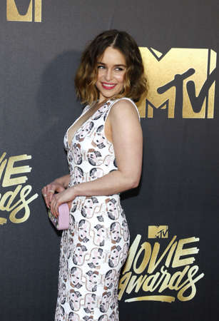 burbank: Emilia Clarke at the 2016 MTV Movie Awards held at the Warner Bros. Studios in Burbank, USA on April 9, 2016.