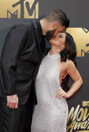 evans: David Eason and Jenelle Evans at the 2016 MTV Movie Awards held at the Warner Bros. Studios in Burbank, USA on April 9, 2016.